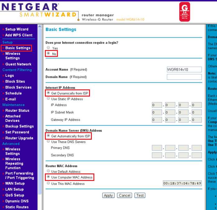 No Internet with new router - MAC spoofing | Answer | NETGEAR Support
