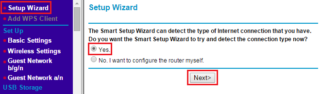 network router internet settings