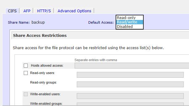 How to set ReadyNAS Share Access (RAIDiator 4 x)   Answer