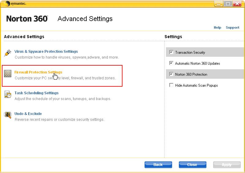 How to disable the Norton 360 Security firewall | Answer | NETGEAR