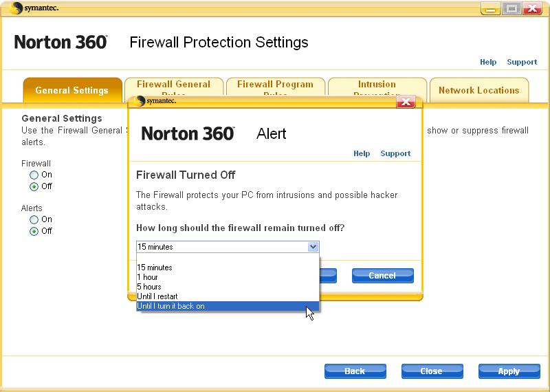How to disable the Norton 360 Security firewall | Answer