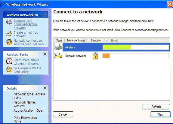 Connecting to a wireless network using the Dell Wireless