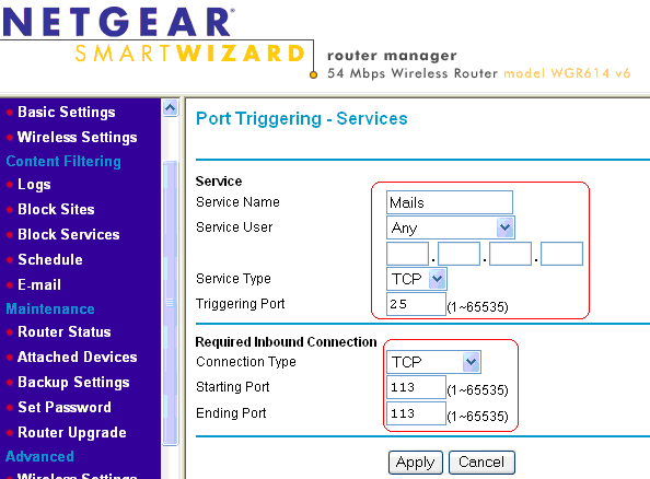 How to configure port triggering on a NETGEAR router with