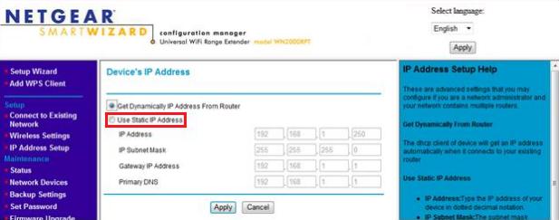 Setting a static IP address on the WN2000RPT wireless extender