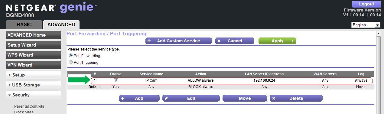 How do I set up port forwarding for my IP camera using the