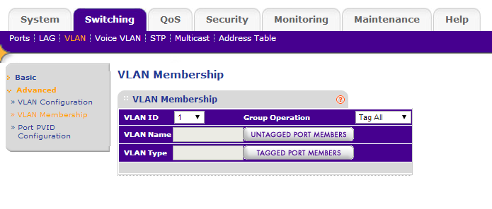 The VLAN and LAG configuration screens do not display correctly on