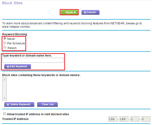 How do I block Internet sites on my NETGEAR router using the