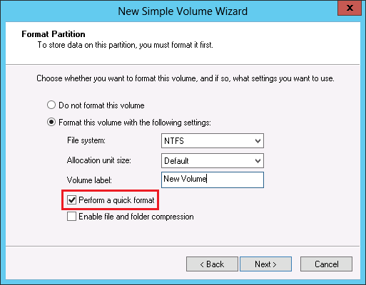 ReadyDATA - Note on Windows quick format and full format on an iSCSI