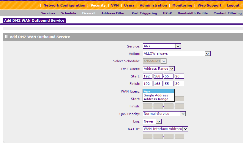 Enabling DMZ on a ProSAFE/ProSECURE router | Answer