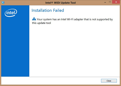 Error when trying to use Intel WiDi (wireless display) with