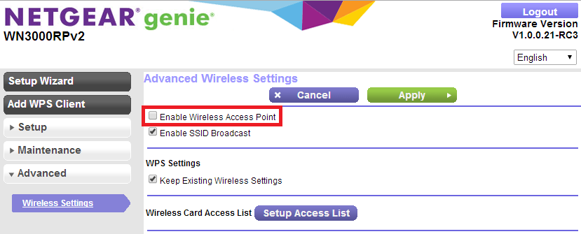 How to disable WN3000RP V2 wireless access point feature