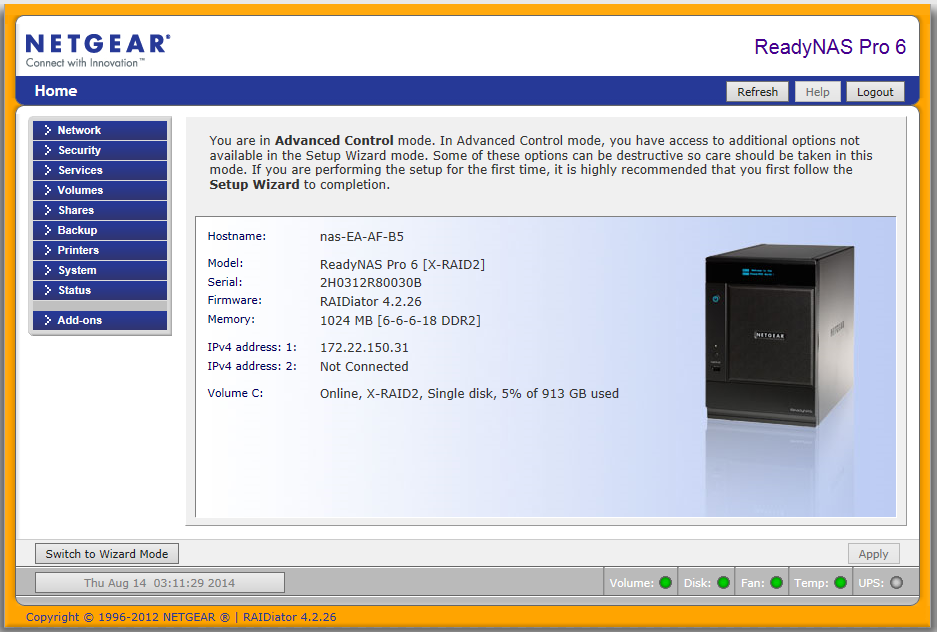 NETGEAR ReadyNAS 3100 NAS RAIDiator Treiber Windows XP