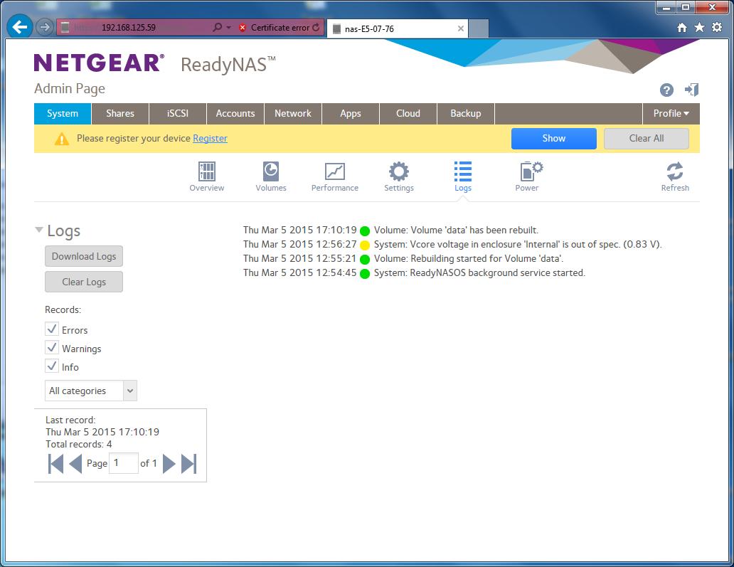 NETGEAR ReadyNAS RN3130 Vista
