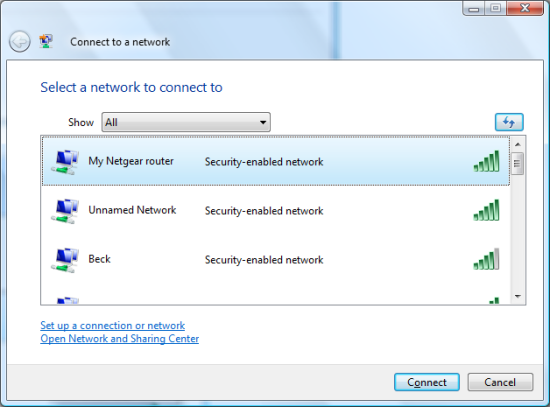 How to connect wirelessly using Security Key/Passphrase instead of
