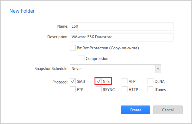 Using ReadyNAS OS 6 as a VMware ESX Datastore (NFS)   Answer