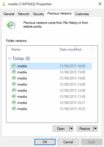 ReadyNAS OS 6: Snapshots and Windows Previous Versions integration