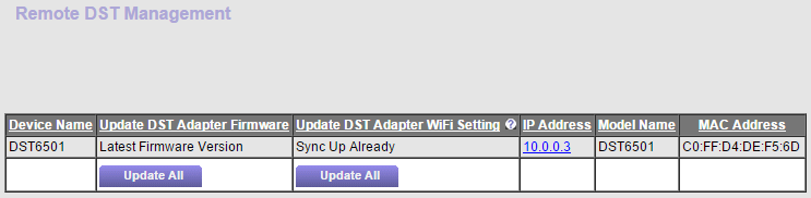 How do I update my DST adapter settings using the DTS router web