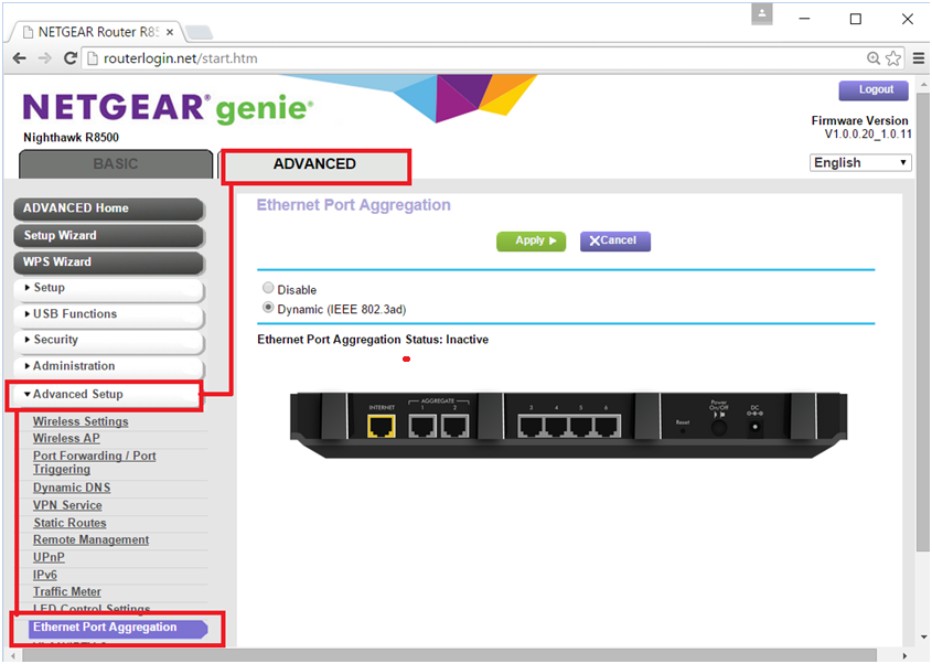 R8500 Port Aggregation with ProSAFE Switch | Answer | NETGEAR Support