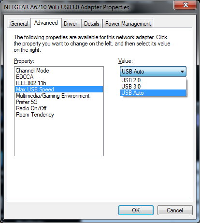 How to force the A6210 adapter from USB 2 0 to USB 3 0