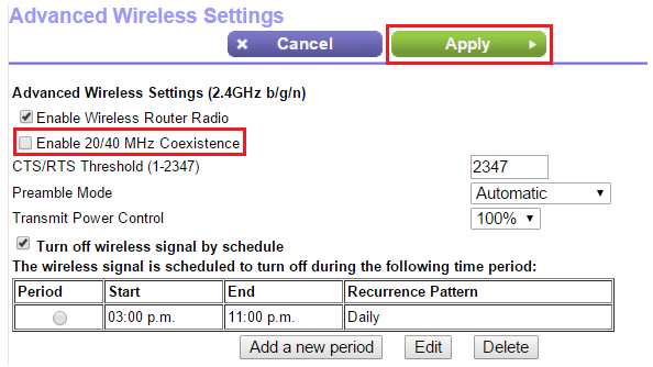 how to disable 20 40 mhz coexistence on a netgear router answer