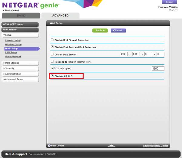 How do I disable SIP ALG on my NETGEAR device using the