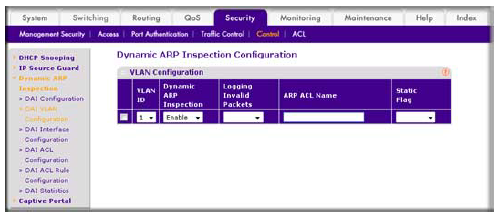 How do I configure Dynamic ARP inspection (DAI) using the