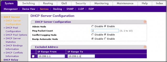 How do I configure a DHCP server using the web interface on