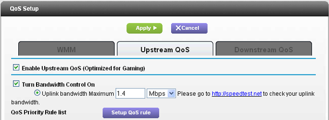 Optimize my Internet gaming experience with upstream QoS on