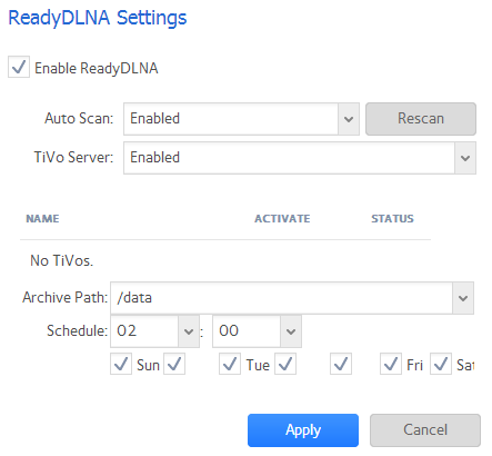 What is the ReadyDLNA streaming service and how do I enable