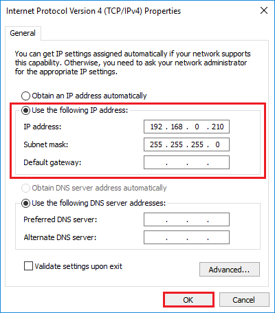 Setting a static IP address on your network adapter in
