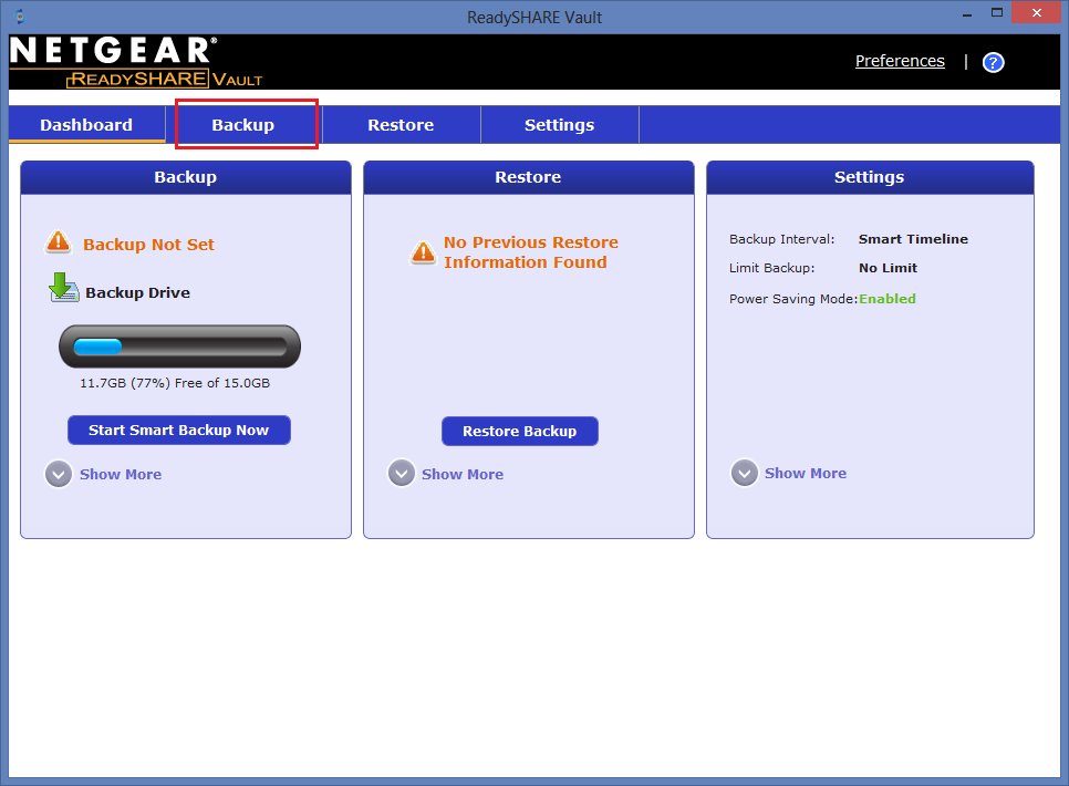 Screenshot of NETGEAR ReadySHARE Vault