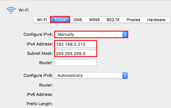 setup static ip address mac