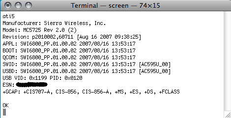 How to issue AT commands with AirCard modems (Mac OS X