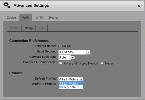 How to add/change a profile on the AT&T Mobile Hotspot Elevate