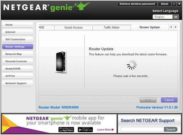 what is the gui language version of netgear r7000 firmware