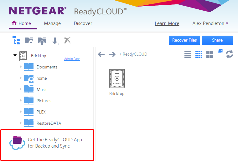Screenshot of NETGEAR ReadyCLOUD