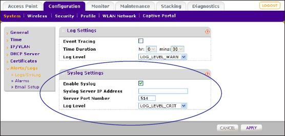 How do I configure Log, Syslog, Alarm Notification, and
