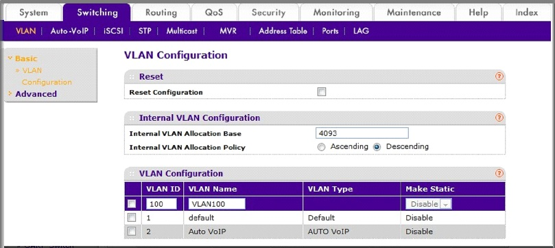 how to delete vlan information from switch