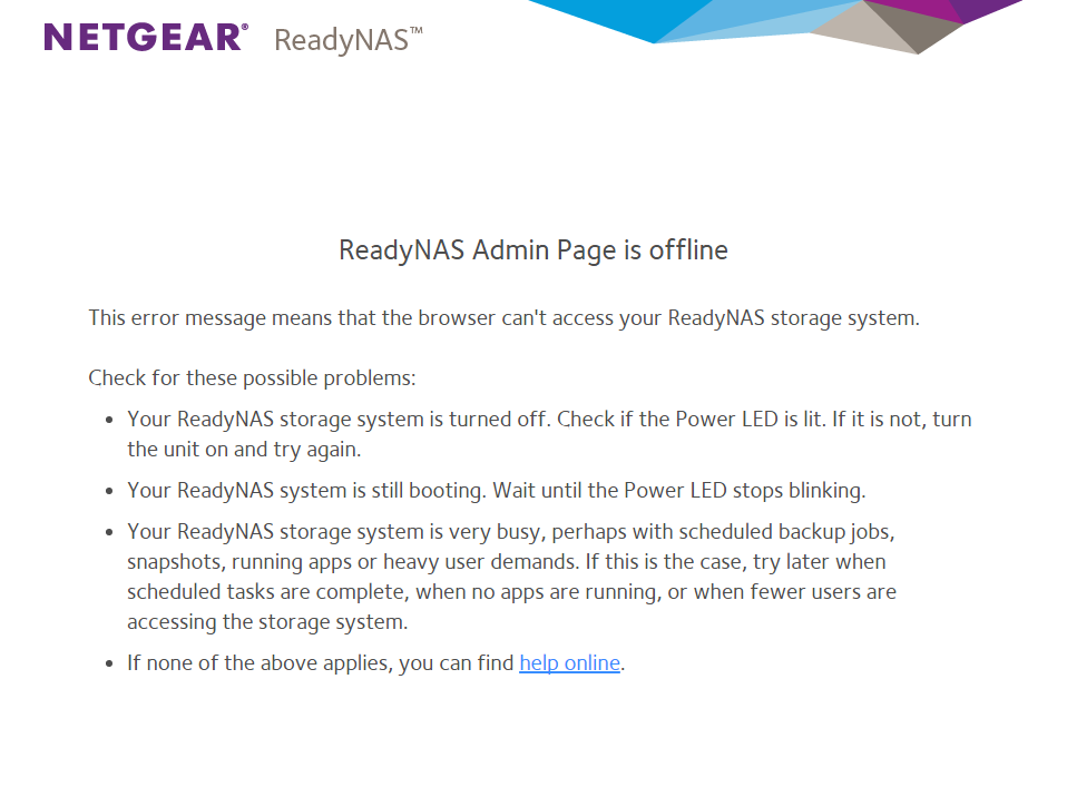 ReadyNAS OS 6: Admin Page is offline | Answer | NETGEAR Support